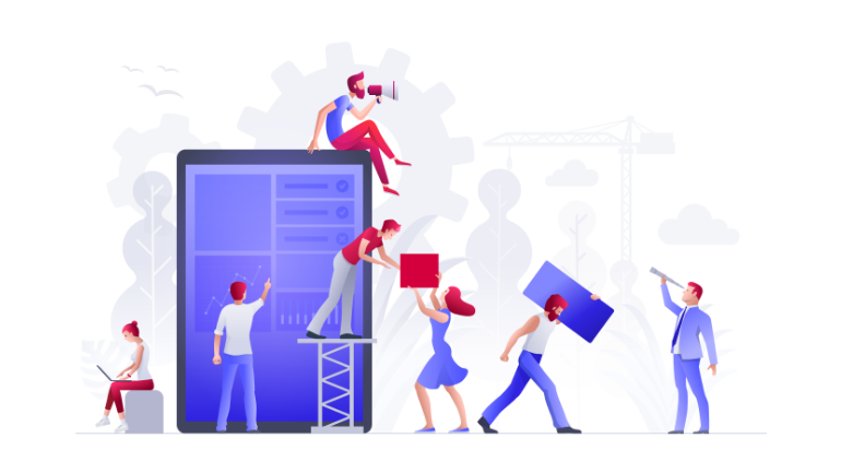 men and women building a B2B eCommerce website - 7 techniques